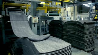 A machine producing tyres out of recycled rubber