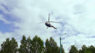 A medical helicopter is landing