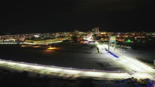 A night city of Yamal in the Arctic
