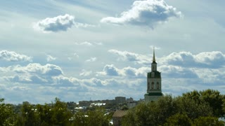 A timelapse of a chuch in a town in Russia