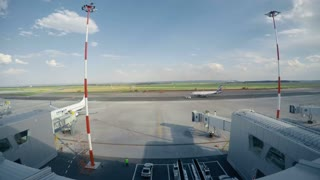 Airport. A timelapse during sunset.