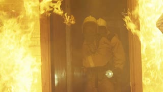 Firemen extinguish a fire