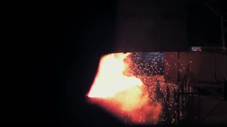 Molten metal is poured into the mold