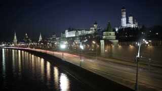 4K footage of Quay near the Moscow Kremlin. Night time lapse with motion blur.