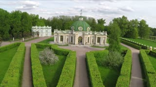 Aerial shot of old style architecture and landscape gardening in Tsaritsyno museum and reserve, Moscow