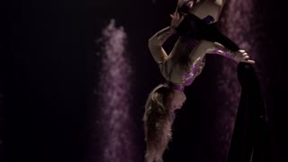 Female gymnast performing on aerial silk in circus. Exciting acrobatic show.
