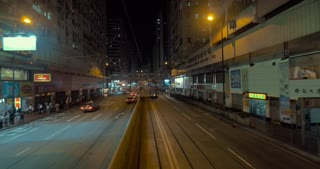 HONG KONG - NOVEMBER 10, 2015: Journey in second level of double-decker tram along street at night. In 2014 Hong Kong Tramways celebrates 110 years of service