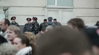 MOSCOW - MAY 6: Policemen at the protest manifestation of opposition, Bolotnaya square in Moscow, Russia on May, 6, 2013