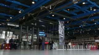 PARIS, FRANCE - SEPTEMBER 04, 2015: Timelapse shot of crowded hall in Centre Georges Pompidou, multicultural complex. Famous place, popular among the country visitors
