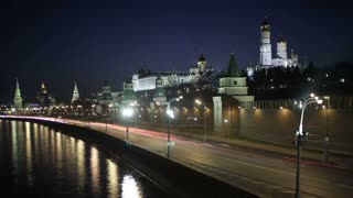 Quay near the Moscow Kremlin. Night time lapse with motion blur.