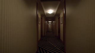 Steadicam shot of moving along the hotel corridor designed in warm colors. Beige walls, wooden doors and striped carpet
