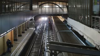 Top view of coming and leaving trains at Kuntsevskaya metro station in Moscow, Russia