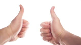Two hands appearing on white background and showing thumbs up, disappearing at the end
