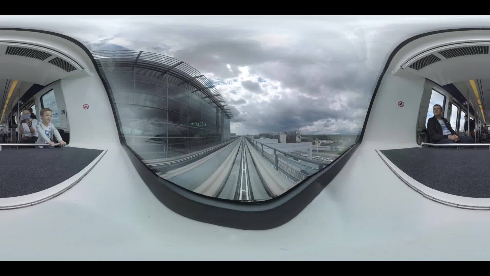 360 VR Driveless train leaving Frankfurt Airport, Germany