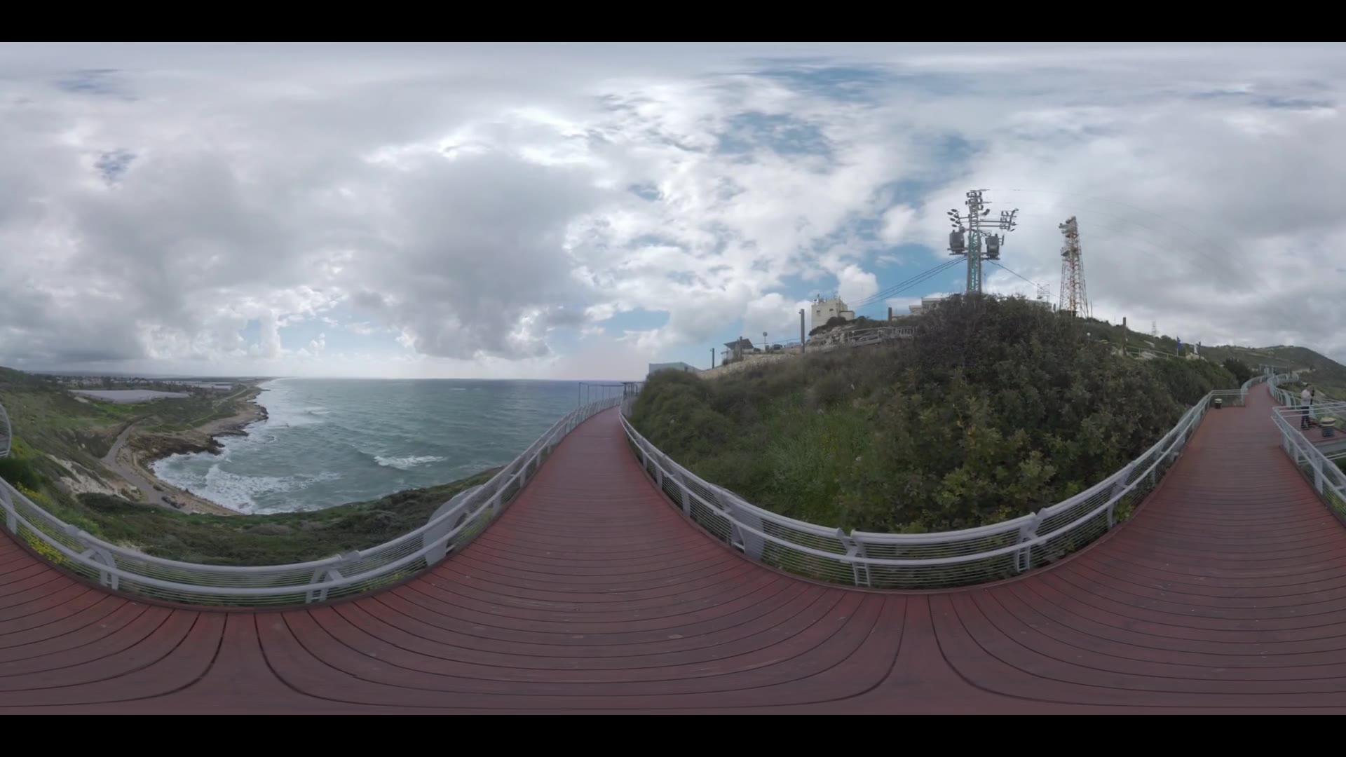 360 VR video. Landscape with Israel seashore. View from the Rosh HaNikra. Man photographer making shots of nature from the walkway on the hill