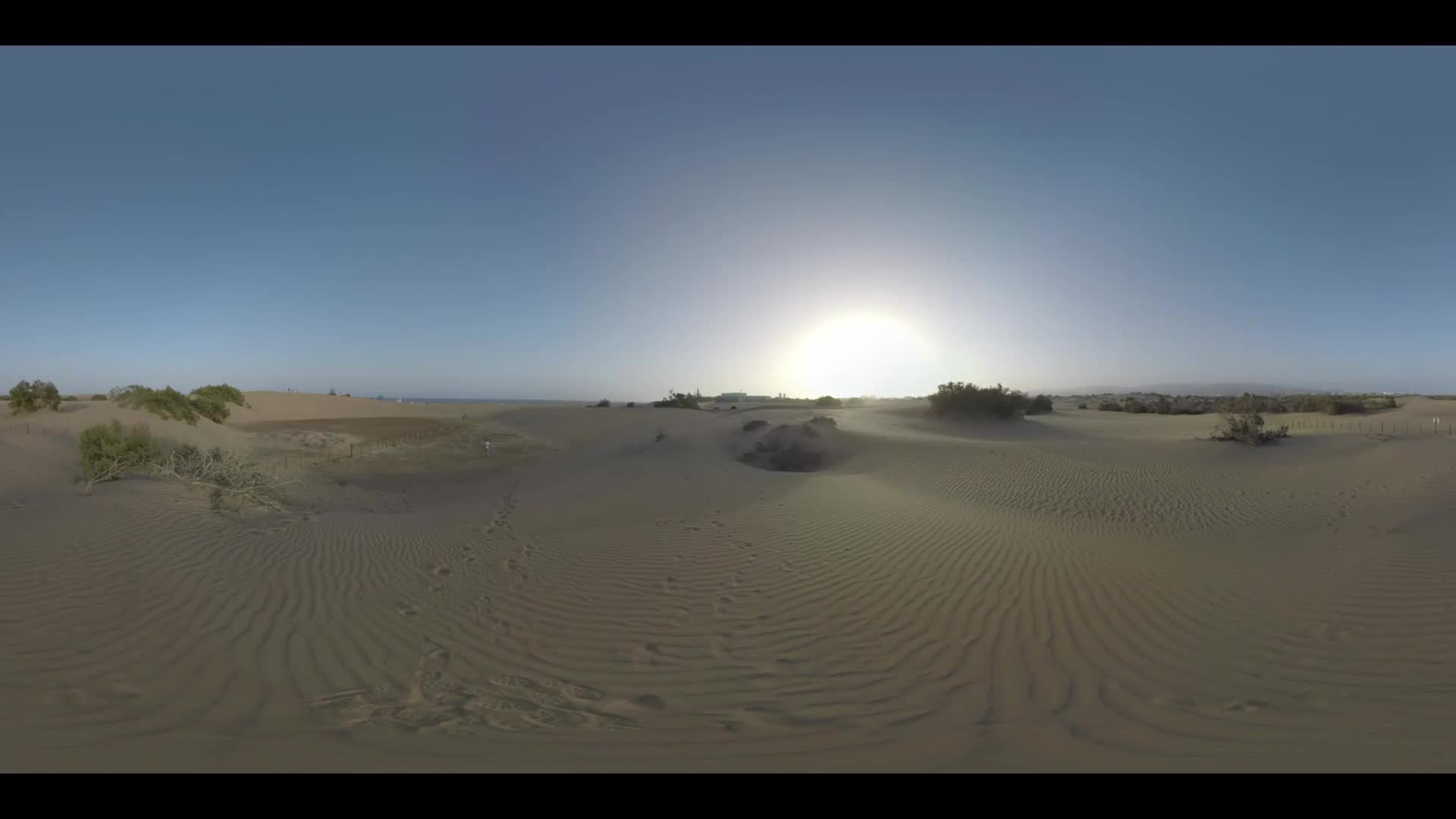 360 VR Video. Sandy landscape with Maspalomas Dunes and rare green plants on the ocean coast at sunset. Man (with model release) walking into the distance