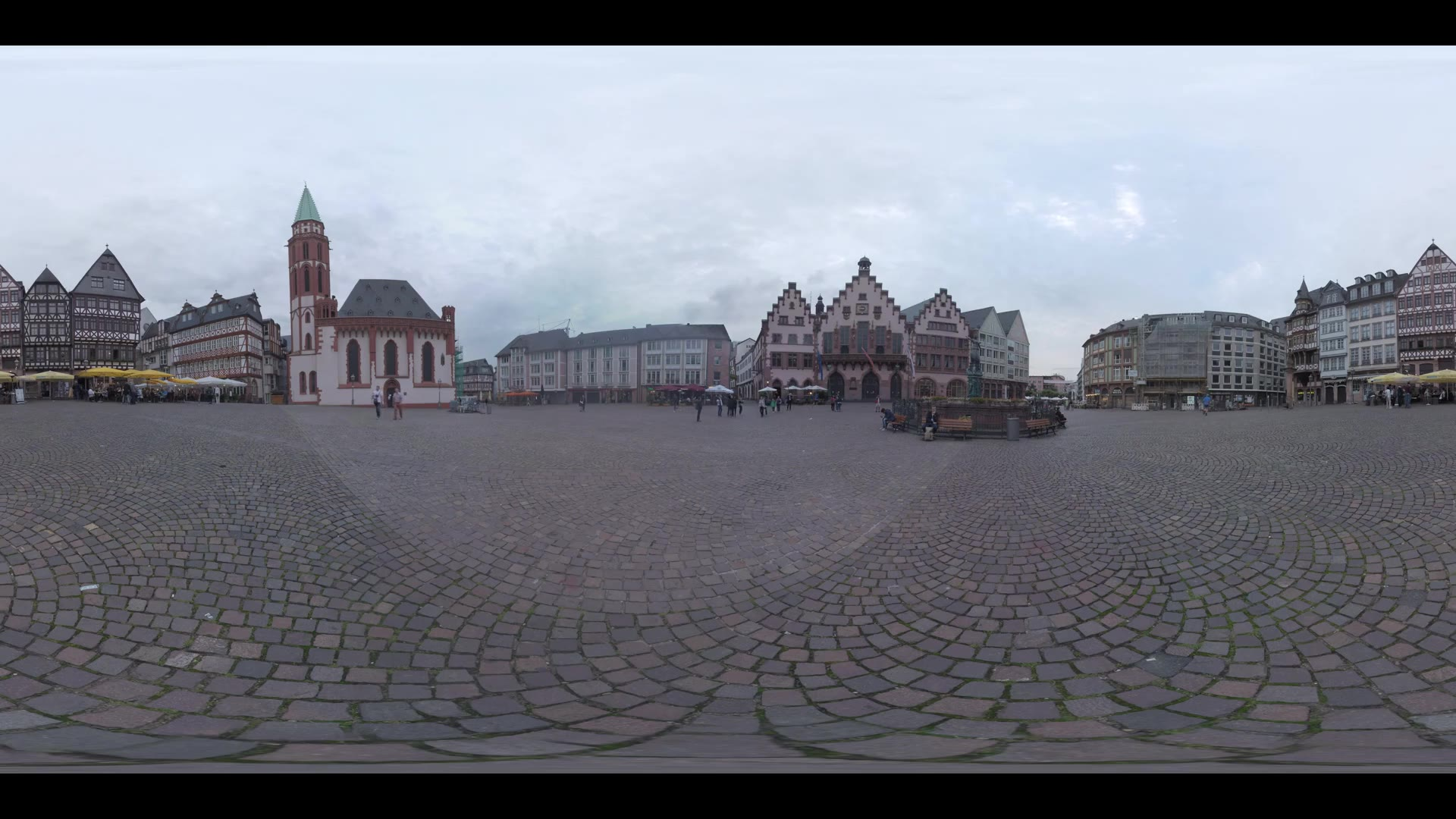 FRANKFURT AM MAIN, GERMANY - JUNE 17, 2016: 360 VR video. View to the popular touristic destination in Old Town with medieval building Romer, St. Nicholas Church and half-timbered houses