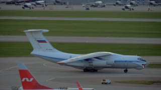 MOSCOW, RUSSIA - SEPTEMBER 11, 2017: Il-76 driving on runway at Sheremetyevo Airport. Multi-purpose four-engine turbofan strategic airlifter designed by the Soviet Unions Ilyushin design bureau