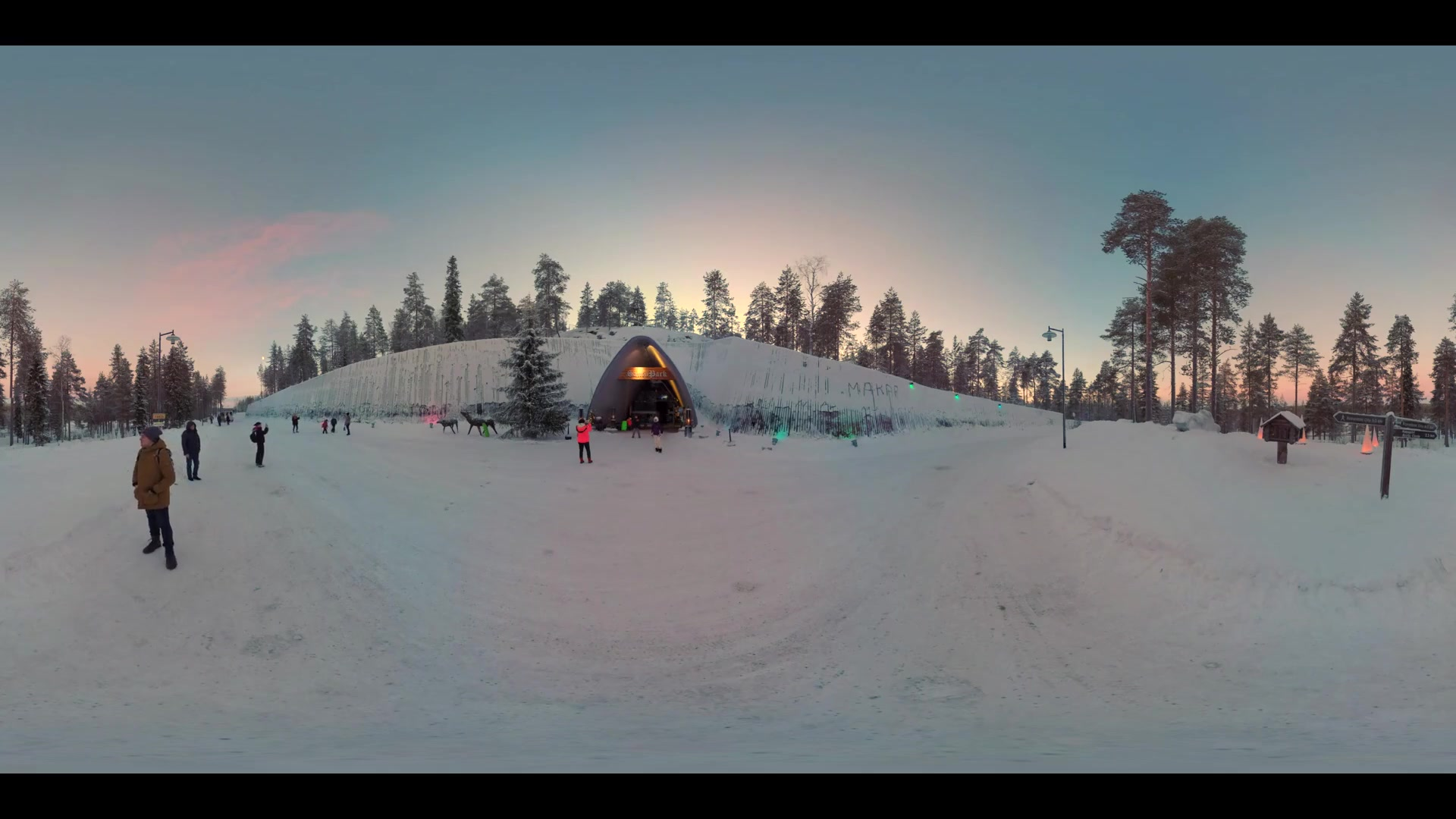 ROVANIEMI, FINLAND- JANUARY 01, 2017: 360 VR Video. People visiting Santa Park with Santa Claus cavern. It was opened in November 1998