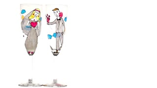 Wedding champagne glasses on white background.