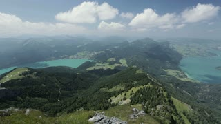 Scenic summer view over two green water Alpine lakes - Fuschlsee and Mondsee, Austria.
