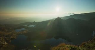 4k time lapse footage by sunrise of the famous lakes in the Rila mountain, Bulgaria.