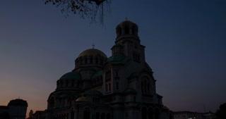 4k time lapse of a an autumn sunrise at the Aleksandar Nevski cathedral in Sofia, Bulgaria.