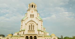 4k time lapse of clouds moving over the Aleksandar Nevski cathedral in Sofia, Bulgaria.