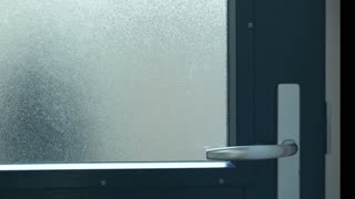 A female thief or a burglar breaking in into a private home.