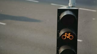 A traffic light for cyclists changes from yellow to red. Vehicles drive on a street behind it.
