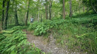 An active woman walks down a narrow footpath in a green forest by summer.