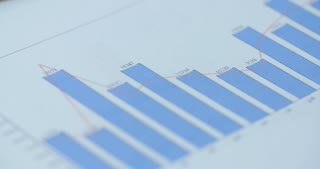 Closeup shot of business documents with charts.