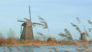 Historic windmill at Kinderdijk, Holland.