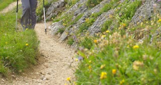 Medium shot of hiker's legs moving toward the camera on a narrow mountain trail.