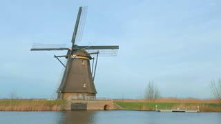 Static footage of a historic Dutch windmill at Kinderdijk, Holland.