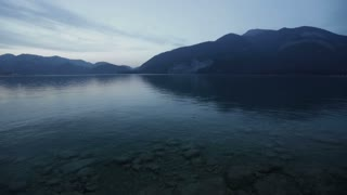 Static footage of the Wolfgangsee lake in Austria on a summer evening.