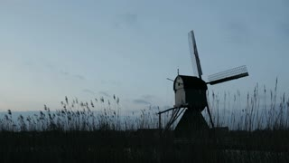 Stationary windmill in Kinderdijk, The Netherlands.