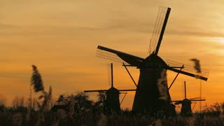Sunset scenery with Dutch windmills at Kinderdijk.