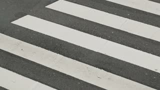 Top closeup view of cars passing over a zebra crossing.