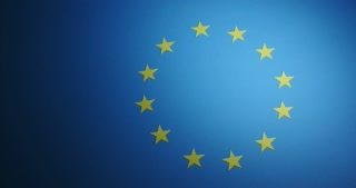 An arm sweeps away the stars of the Flag of Europe (European Union flag).