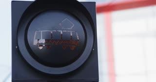 Warning traffic light - blinking tram symbol. Rotterdam, The Netherlands.