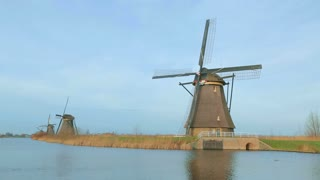 Windmills in Holland - Kinderdijk. Static footage.