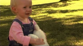 Baby in Park with teddy bear