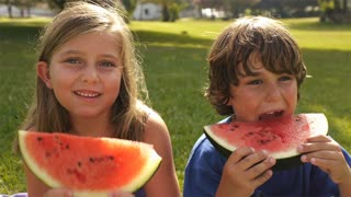 Brother and sister eating watermelon in park.