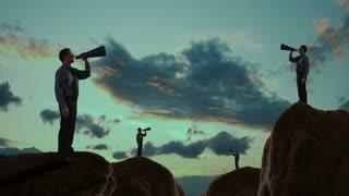 Businessmen talking into a megaphones on a mountain peak.