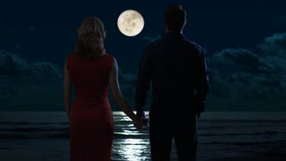 Couple gazing at a sea at night.