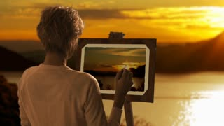 Dolly shot woman painting landscape picture in sunset.