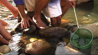Family in Park, fishing in river