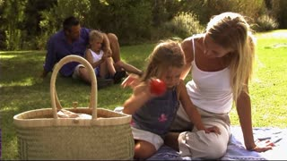 Family in park having picnic