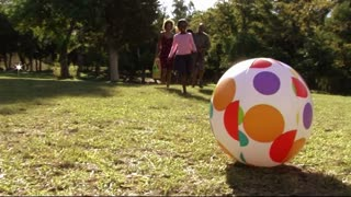 Family in park with ball